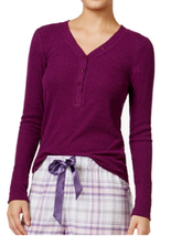 Alfani Ribbed Henley Pajama Top,  Autumn Plum , Size XS, L, MSRP $34 - $15.99