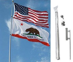 ALBATROS 22ft Foot Fiberglass Telescoping Flag Pole with Ground Spike Ki... - $345.74