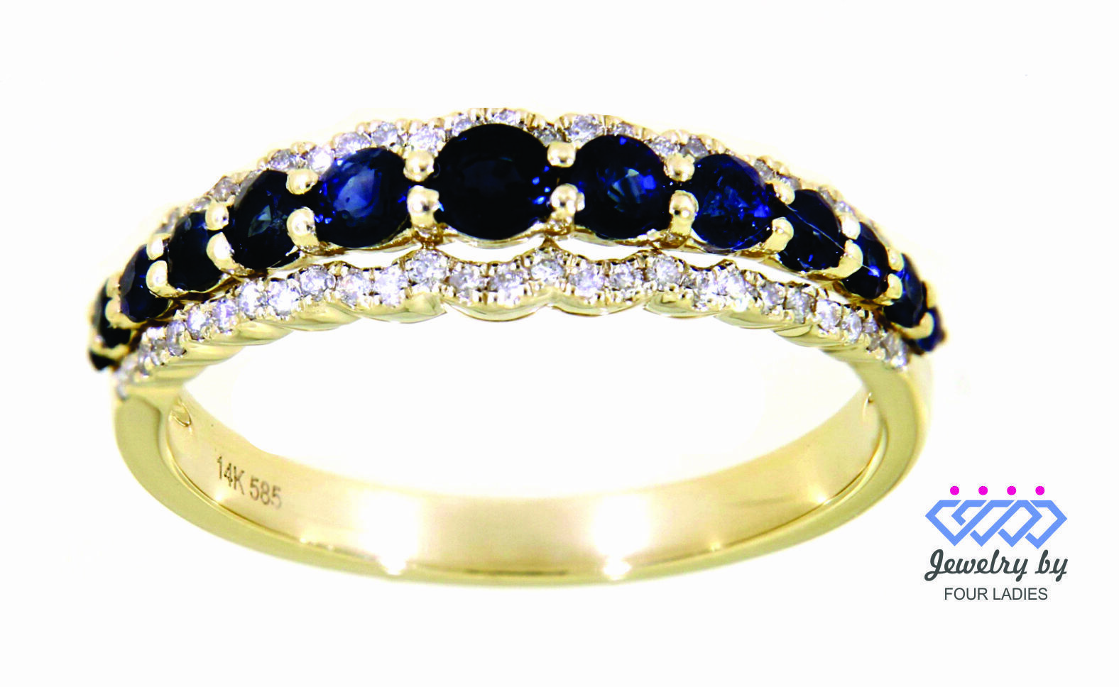 Primary image for Blue Sapphire Gemstone 14K Yellow Gold 0.79CT Real Natural Diamond Designer Ring