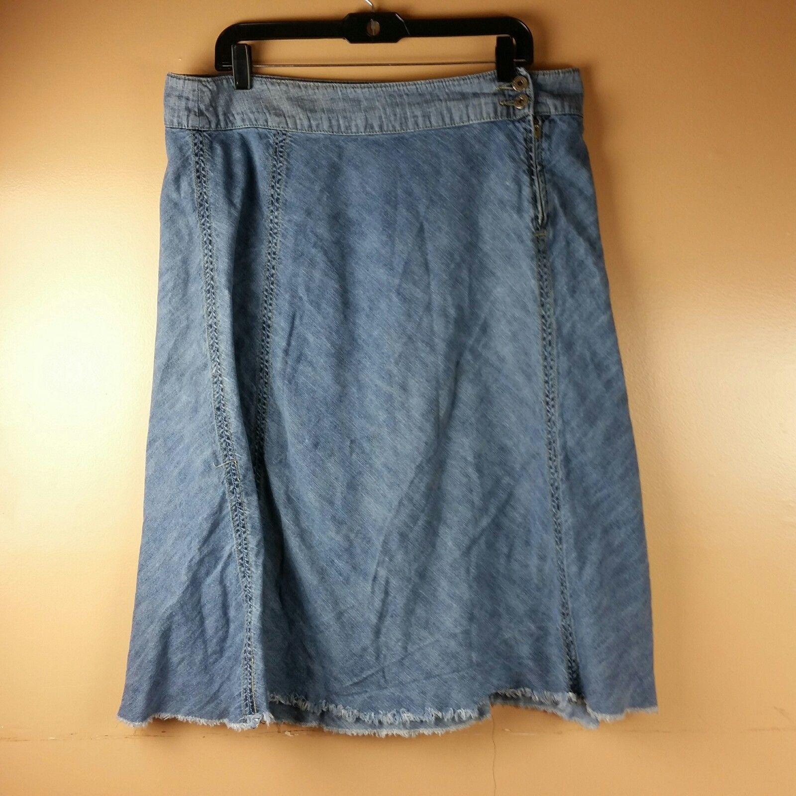 LEE Jean Skirt Womens One True Fit Modest Denim Fringe Hem Size 15/16M image 5