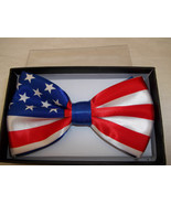 American  Patriotic Bow Tie American Flag Red White And Blue Hook & Clip - $8.56