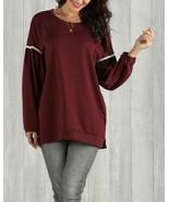 Suzanne Betro Wine Bead Sweatshirt Red Medium - $10.00