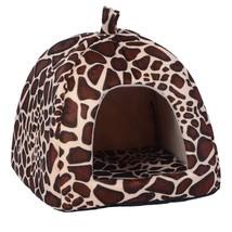 (leopard size S)Foldable Cat Dog Warm Cushion House Soft Strawberry Shap... - $26.00