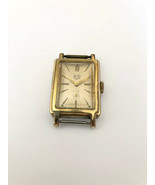 Vnt Very Rare GUB GLASHUTTE Rectangular cal.62.2 Gold plated Germany Watch - $264.81