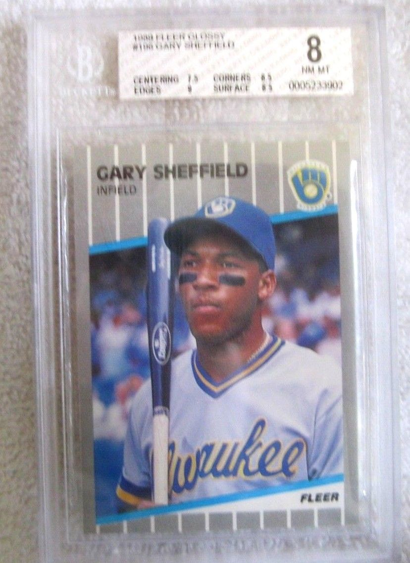 GARY SHEFFIELD RC 1989 FLEER GLOSSY ROOKIE CARD GRADED MINT BGS8!-BREWERS OF RC
