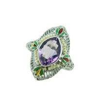 14k White Gold Filigree Amethyst Enamel Ring (#J4721) - $495.00