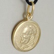 SOLID 18K YELLOW GOLD SAINT POPE JOHN PAUL II, DIAMET. 13 MM MEDAL MADE IN ITALY image 2