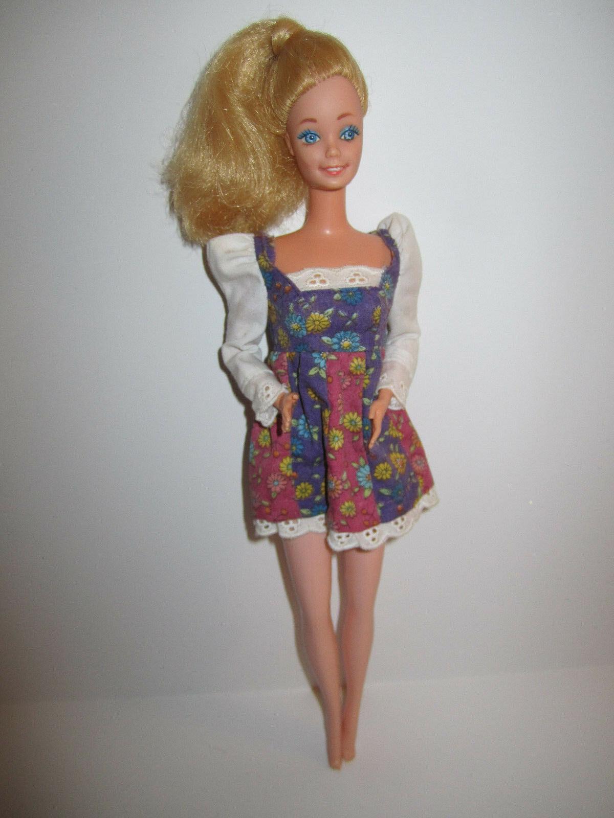 Blonde Barbie Doll in vintage Red Purple Flowered Minidress