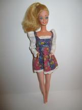 Blonde Barbie Doll in vintage Red Purple Flowered Minidress image 1