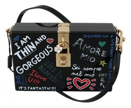 Hand Painted Wooden Black BOX SICILY Leather Purse - $1,199.00