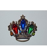 Sterling Crown Brooch with Rhinestones & 3 Tall Tear Drop Shaped Colored... - $74.99