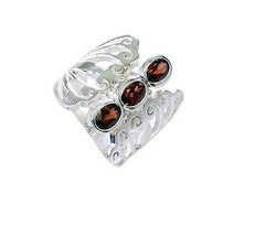 refined Garnet Silver Red Ring handmade L-1in US 5,6,7,8 Sz 8.5 - £12.71 GBP