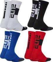 2 Pair Big Boys Youth Nike Elite Crew Socks Black White Blue Red - $10.44
