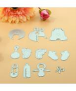 11Pcs Cute Baby Party Set Metal Cutting Dies Scrapbooking Embossing Fold... - $9.99