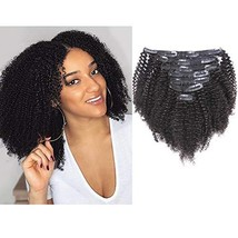 Anrosa Afro Kinky Clip ins Human Hair 1B Natural Black Afro Kinkys Curly Clip in