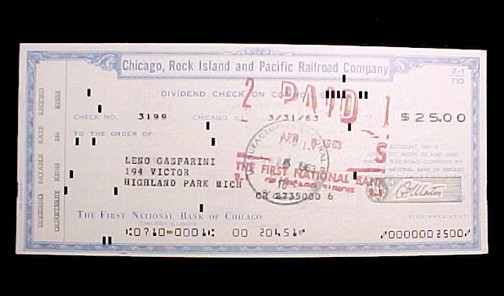 20001a chicago rock island   pacific railroad dividend check 1961 collectible