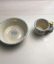 2-Piece Mud Pie Prince Ceramic Feeding Set Cup Mug & Bowl His Royal High... - $24.75