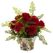 Rose & Maiden Hair w/Floral Planter - $53.25 CAD