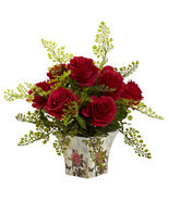 Rose & Maiden Hair w/Floral Planter - £29.23 GBP