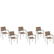 Set of 6 Modern Outdoor Dining Chairs Brown Plastic Wood Aluminium Frame... - $292.04