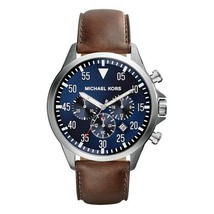 Michael Kors Men's Watch Stainless Steel Leather Chronograph Blue Dial MK8362 - $244.06