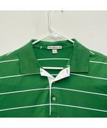 Peter Millar Men's Golf Polo Green White Striped Large - $29.67