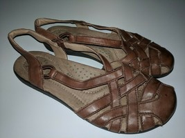 Earth Origins Womens Nellie Closed Toe Leather Slingback Sandals Brown S... - $24.74