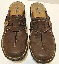 Clarks Artisan Active Air Women's Brown Leather Slip On Slides Mules Size 6.5 - $22.04