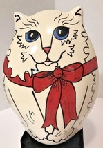 "Nina Lyman White Persian Cat Red Bow Ceramic Art 7"" Vase 2001 Retired EUC - $19.99"