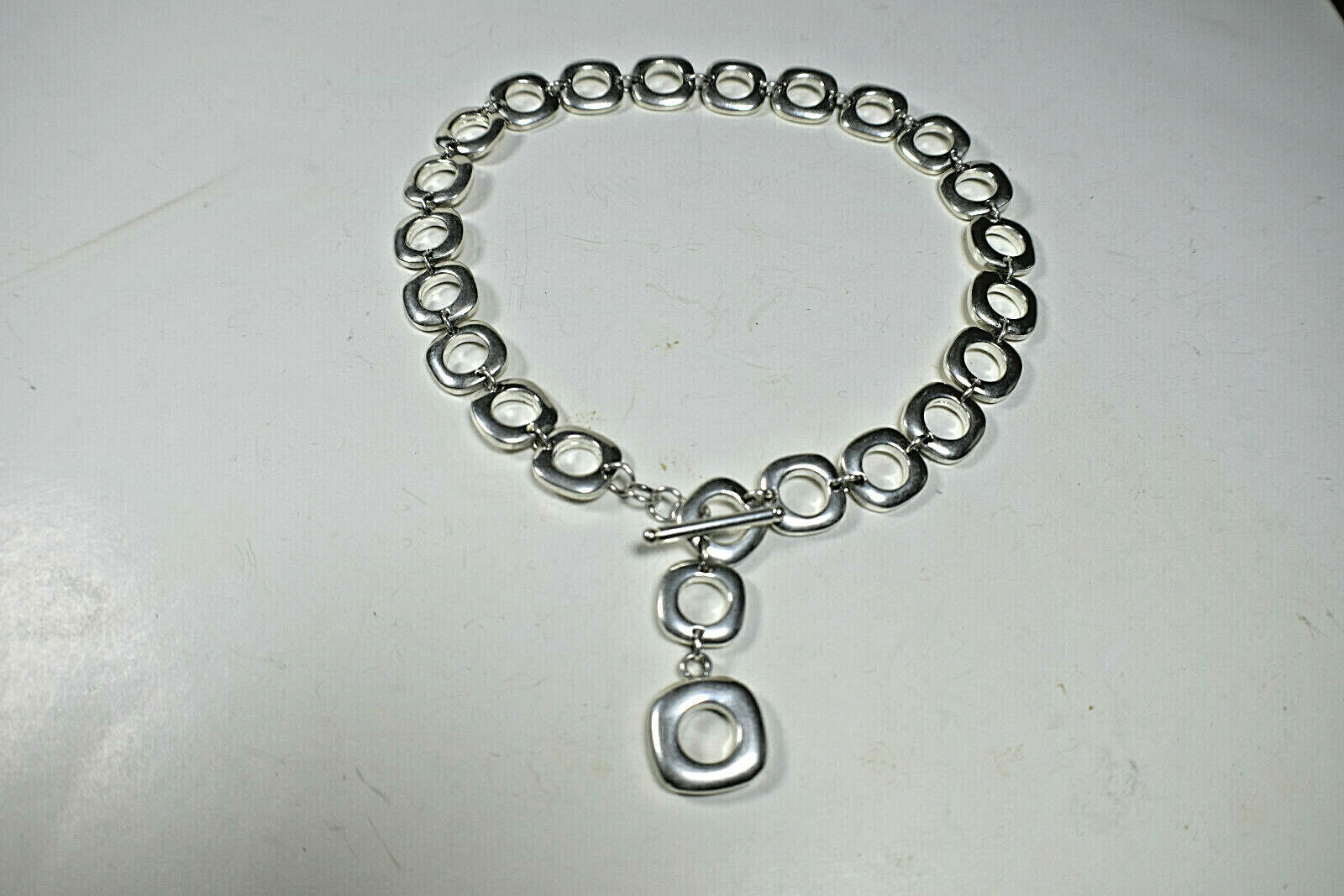 "Tiffany & Co Peretti Square Cushion Link Toggle Bracelet Sterling Silver 8"""