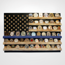 POLICE POLICEMAN LAW ENFORCEMENT FLAG CHALLENGE COIN WOOD  DISPLAY STAND... - $189.99