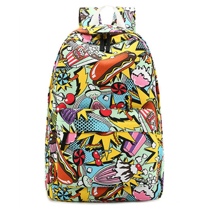 Graffiti Canvas Backpack Students School Bag For Teenage Girls Boys Backpacks St