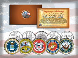 Us Armed Forces State Quarter 5-Coin Set Army Navy Marines Air Force Coast Guard - $13.98