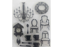 Chandelier, Clock, Chairs, Coffee Cups Clear Stamp Set, Great for Mixed Media