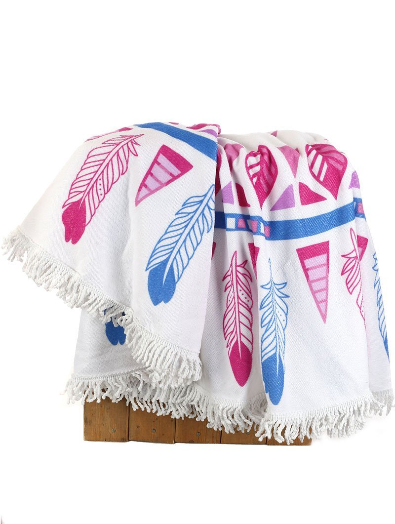Large Round Beach Towel w/ Tassels (Feather Pattern)