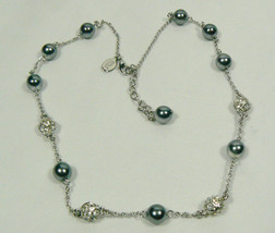 Nolan Miller signed Silver tone metal Crystal bead Black pearl faux Necklace - $71.24