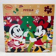 Disney Store Mickey and Minnie Mouse Glitter Christmas Puzzle 500 Pcs NEW - $13.10
