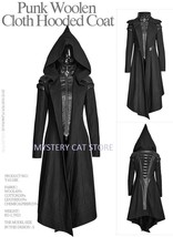NEW Punk Rave Gothic Heavy Metal Witches Black Wool Jacket Coat Y611 FAS... - $136.87