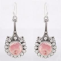 Pink Rhodochrosite Designer 925 Sterling Silver Earrings, Handmade Jewel... - $27.99