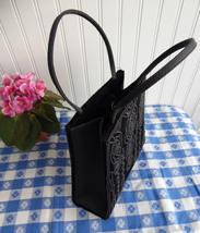 Black Velvet Beaded Purse Handbag 1980s Elegant Vintage USA Beautifully Made Art - $28.00