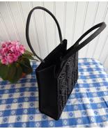 Black Velvet Beaded Purse Handbag 1980s Elegant Vintage USA Beautifully ... - $28.00