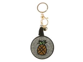 Pineapple Mirror Tassel Bling Faux Suede Round Keychain Handbag Charm - $13.95