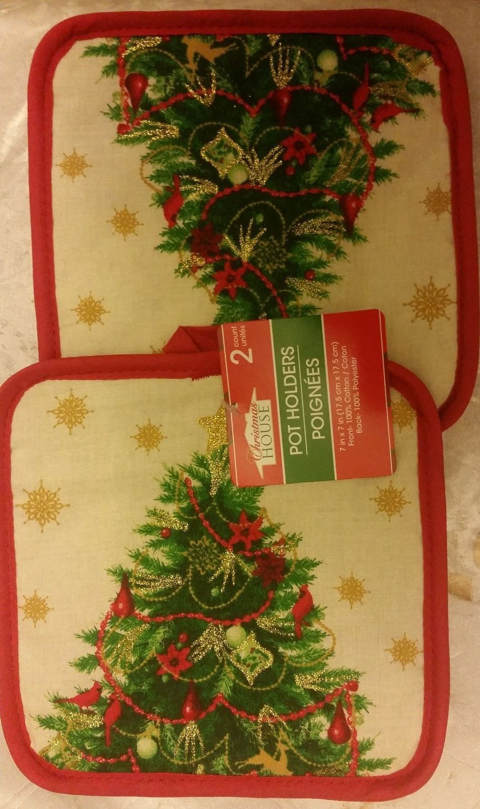 SET 2 RARE Printed Kitchen Pot Holders, SPARKLING CHRISTMAS TREE, red back