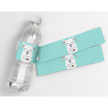 Mint Llama Pink Hearts Kids Birthday Personalized Water Bottle Labels  - $21.78