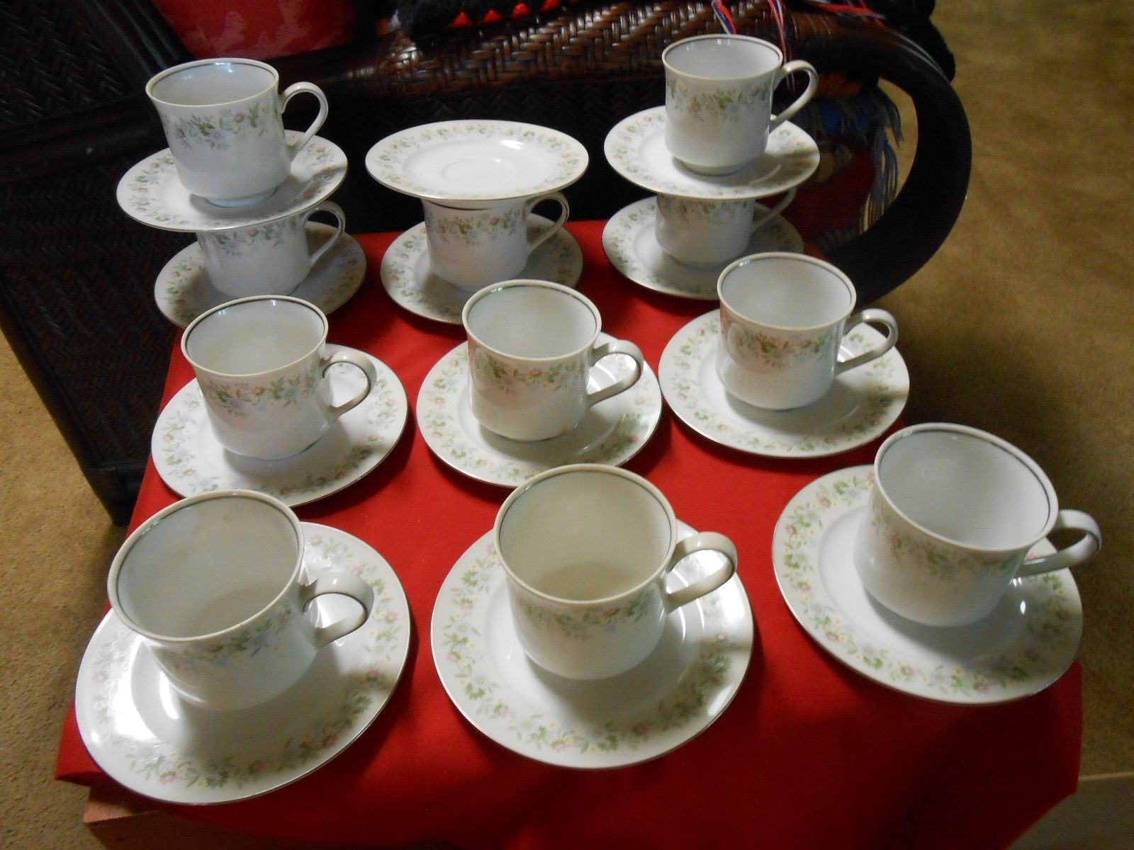 Primary image for Beautiful JOHANN HAVILAND Dinnerware Set of 11 CUPS & SAUCERS plus 1 FREE Saucer