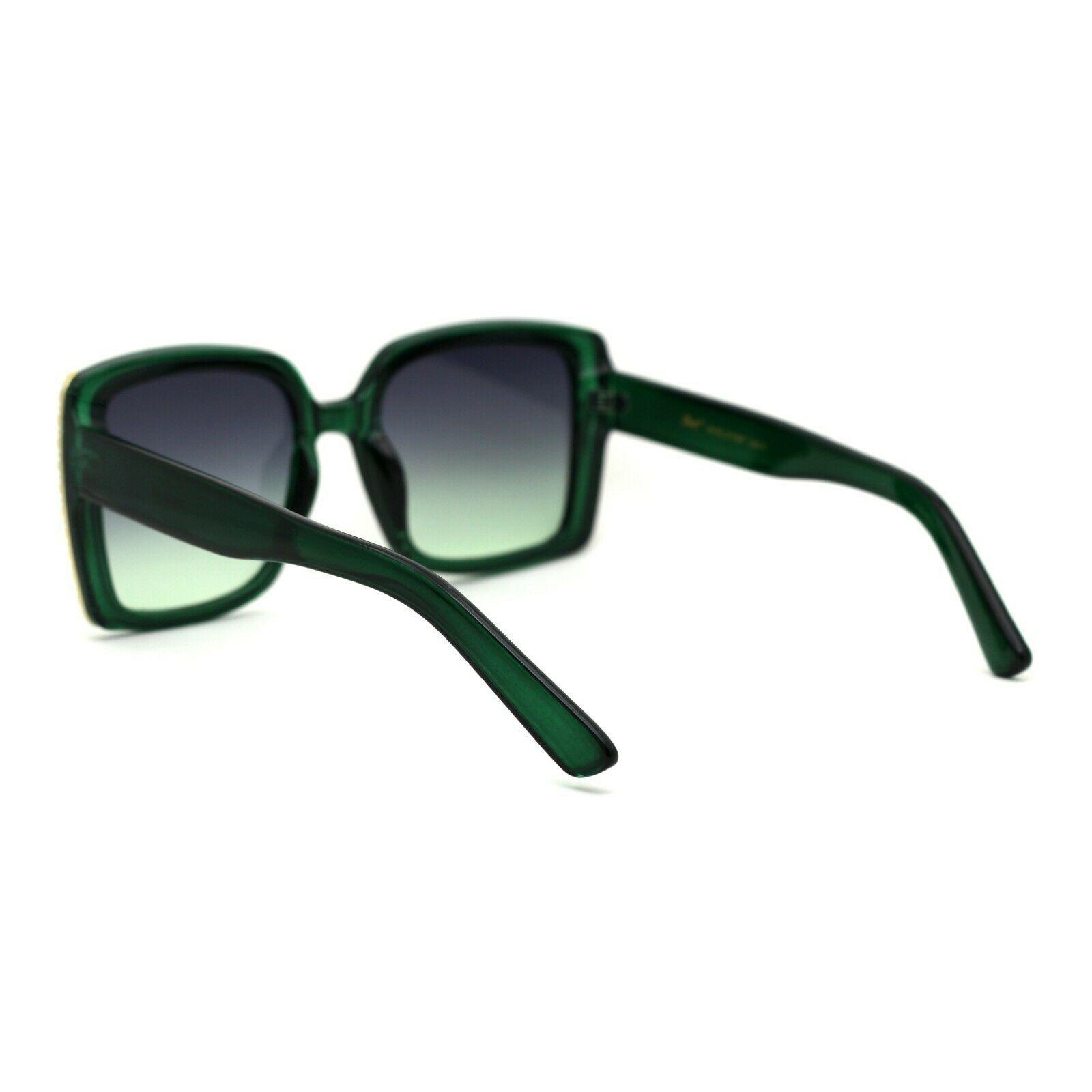 Womens Chic Designer Fashion Rectangular Plastic Sunglasses