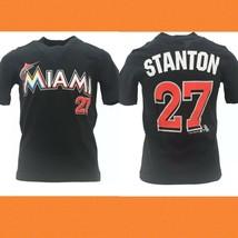 Giancarlo Stanton Jersey TShirt Miami Marlins MLB Black Majestic Mens Size 3x - $22.02