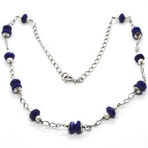 925 Silver Necklace, Lapis Lazuli Blue Disk Faceted, Pearls, 45 cm image 1