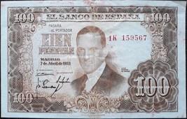 Spain banknote - 100 cien pesetas - year 1953 - Julio Romero de Torres - $12.68