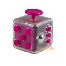 CLEAR Pink Fidget Cube Toy Anxiety Stress Relief Focus Attention Work Pu... - $6.99